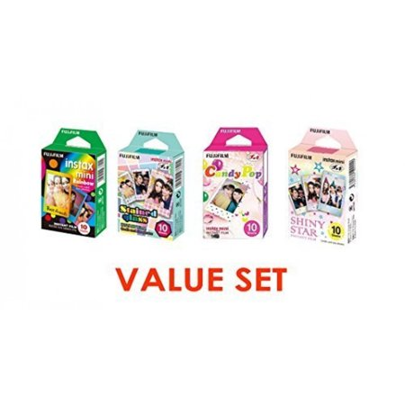 Fujifilm InstaX Mini Instant Film Rainbow & Staind Glass & Candy Pop & SHINY STAR Film -10 Sheets X 4 Assort Value Set ()