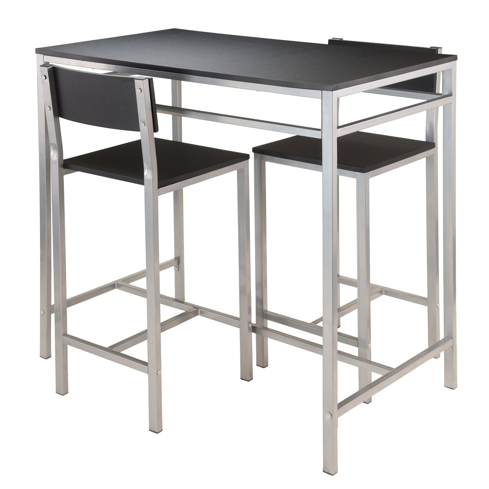 Winsome Hanley 3 Piece Kitchen High Table Set, Black Top/Metal Frame