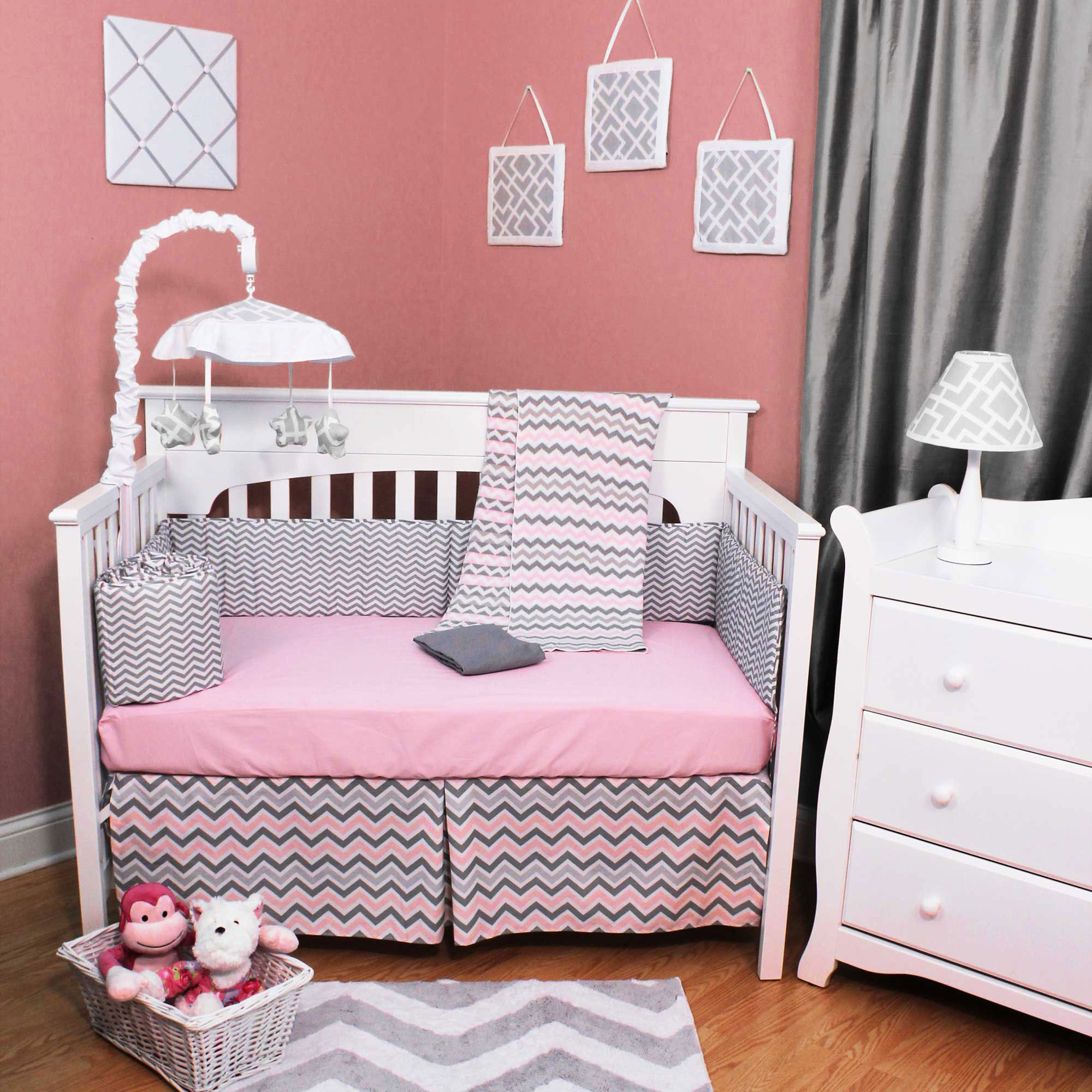 American Baby Company Crib Bedding Set - Pink and Gray Chevron - Zig Zag 4 Piece Baby Bedding Set