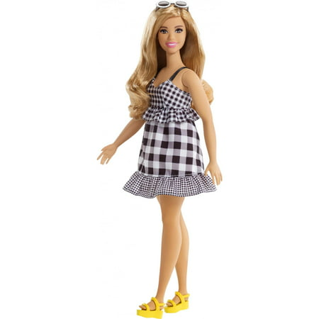 Barbie Fashionistas Doll, Curvy Body Type Wearing Black & White Dress (Dress Up Halloween Barbie)