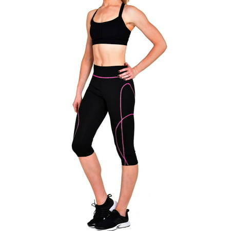 Zipper Leggings Pants - Workout Capri Leggings With Zipper Key Pocket(Black with Colored Stitching)