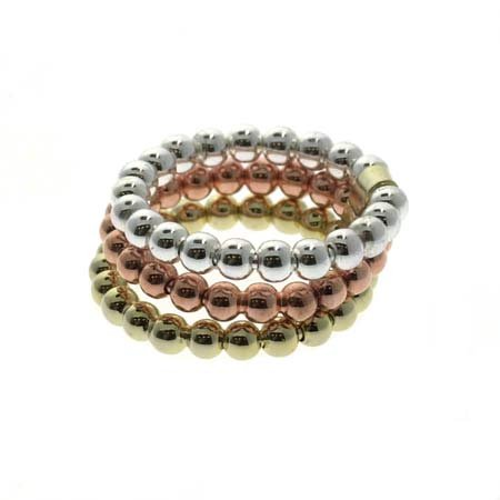 - 18K Gold over Sterling Silver Tri Color Beaded Three Ring Set