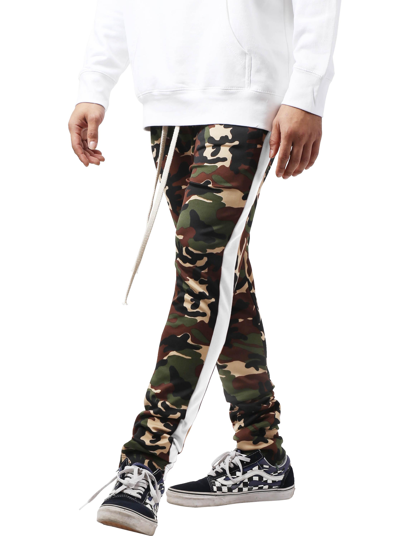 Mens Camo Stripe Track Pants Stretch Elastic Slim Trouser Skinny Fit Urban