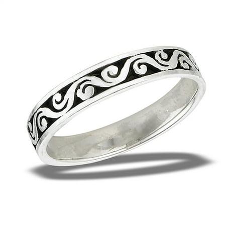 Oxidized Filigree Vintage Vine Wave Ring New 925 Sterling Silver Band Size