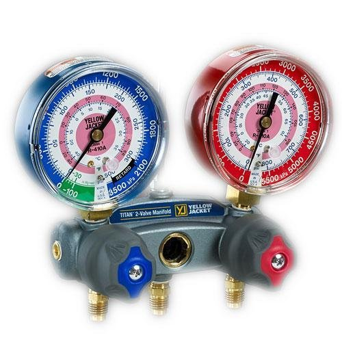 Yellow Jacket 49836 Manifold with Red/Blue Gauges, bar/MPa Scale, R-134A/404A/407C Refrigerant