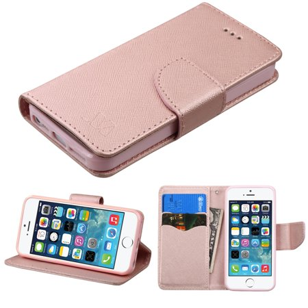 Diary Leather Wallet Case for iPhone SE / 5S / 5 - Rose (Best Case For Gold Iphone)