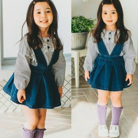 dca89602f19 Honganda - Cute Newborn Toddler Baby Girl Strap Denim Dress Overalls  Princess Party Dresses - Walmart.com