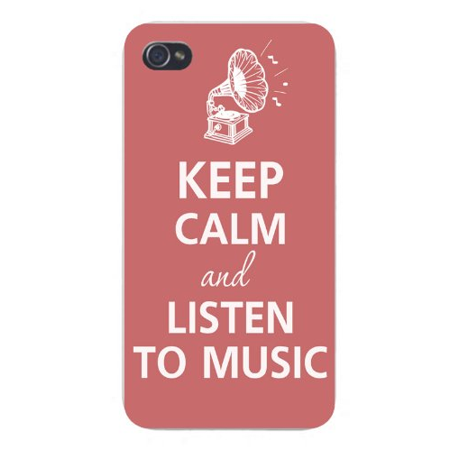 Apple Iphone Custom Case 4 4s White Plastic Snap on - Keep Calm and Listen to Music Record