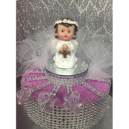 Angel Kneeling Girl Christening Communion Cake Top Centerpiece