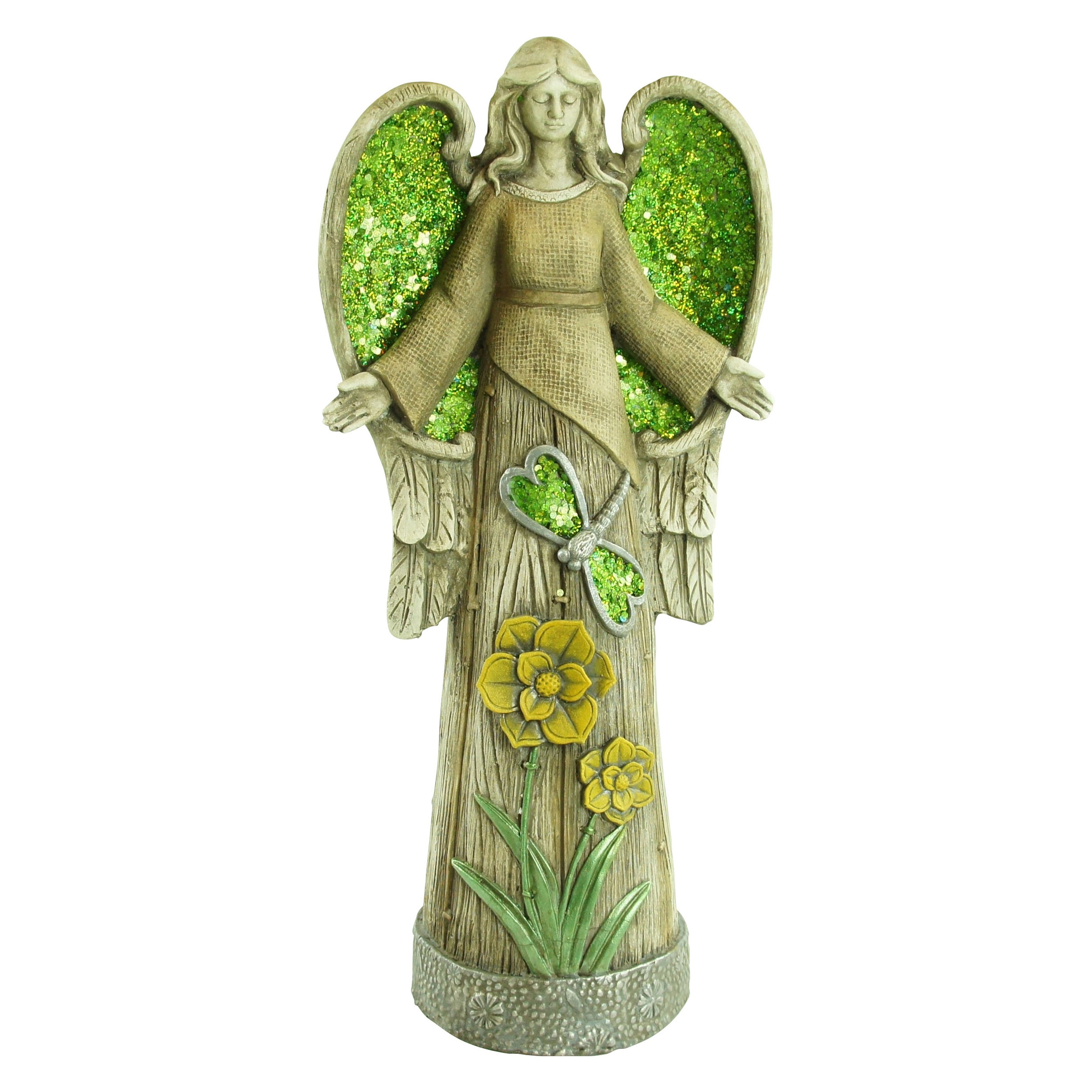 """24"""" Angel Statue with Green Glitter Mosaic WIngs by Alpine Corporation"""