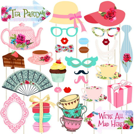 Tinksky 30 Pcs Funny Tea Party Photo Booth Props Party Accessories Decoration Favors Supplies