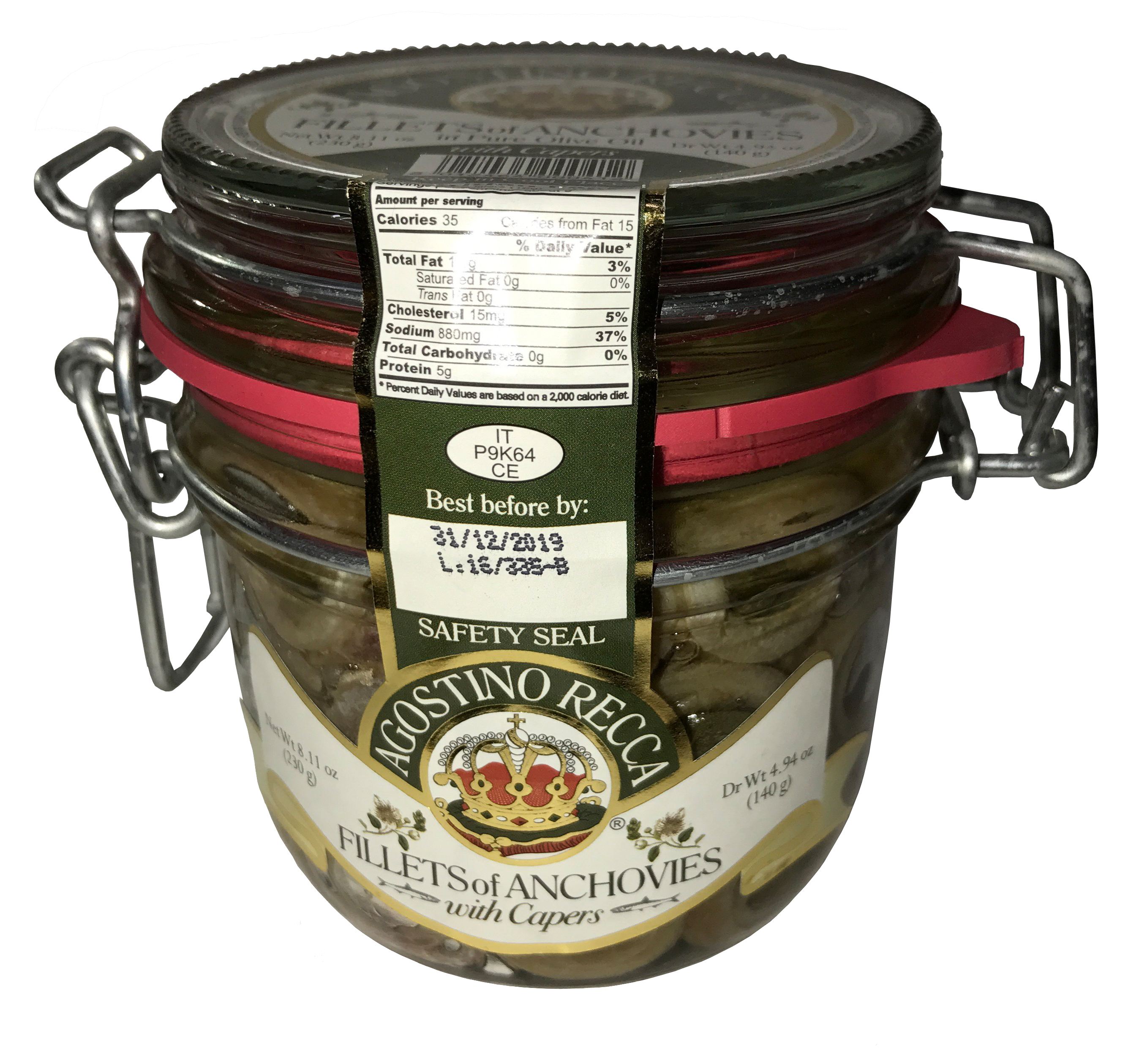 Agostino Recca Fillets of Anchovies With Capers in Pure Olive Oil Net weight 8.11 oz. by Agostino Recca