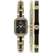 ELGIN Women's Black- and Gold-Tone Black Dial Crystal Accented Bracelet Watch Set