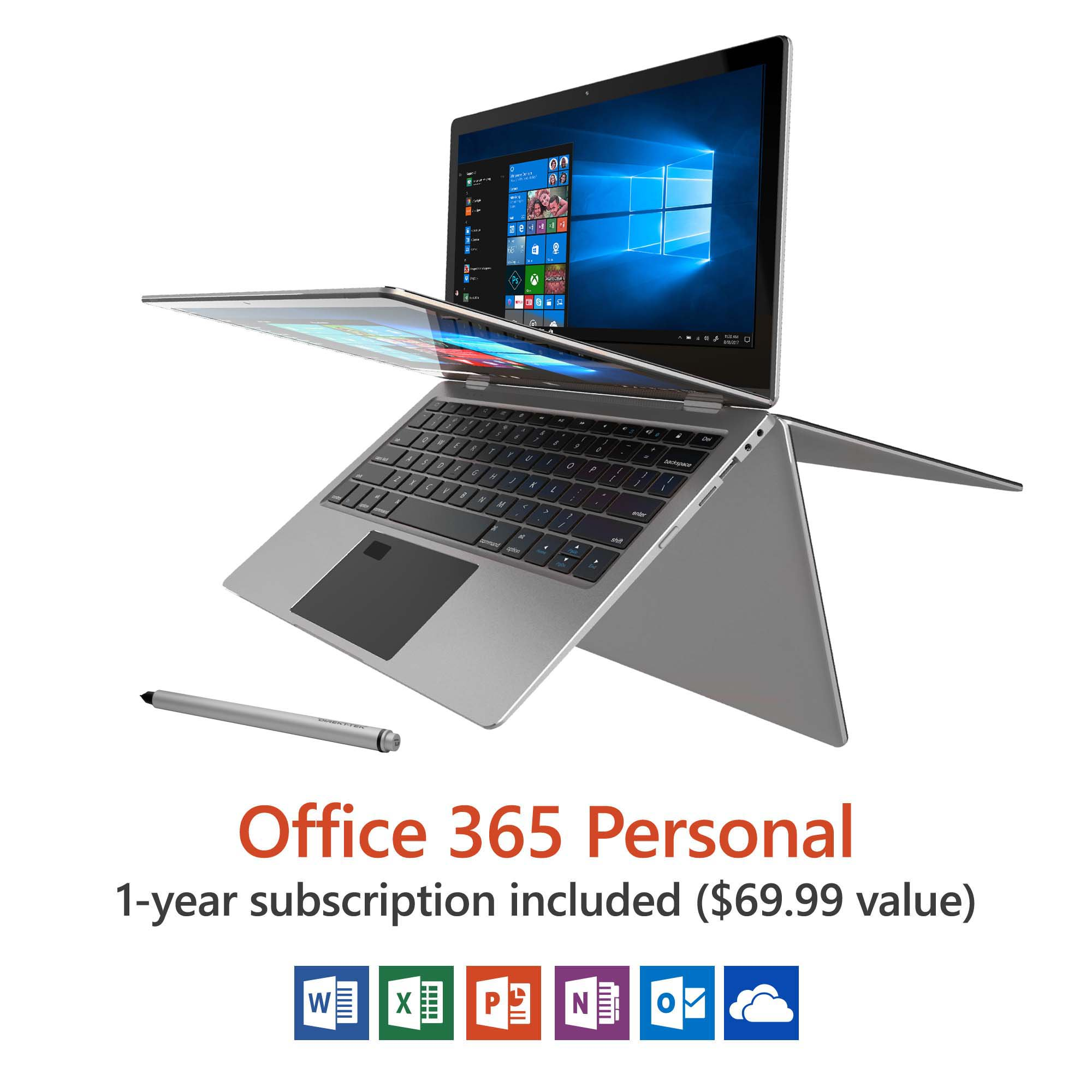 laptop with windows 10 and office