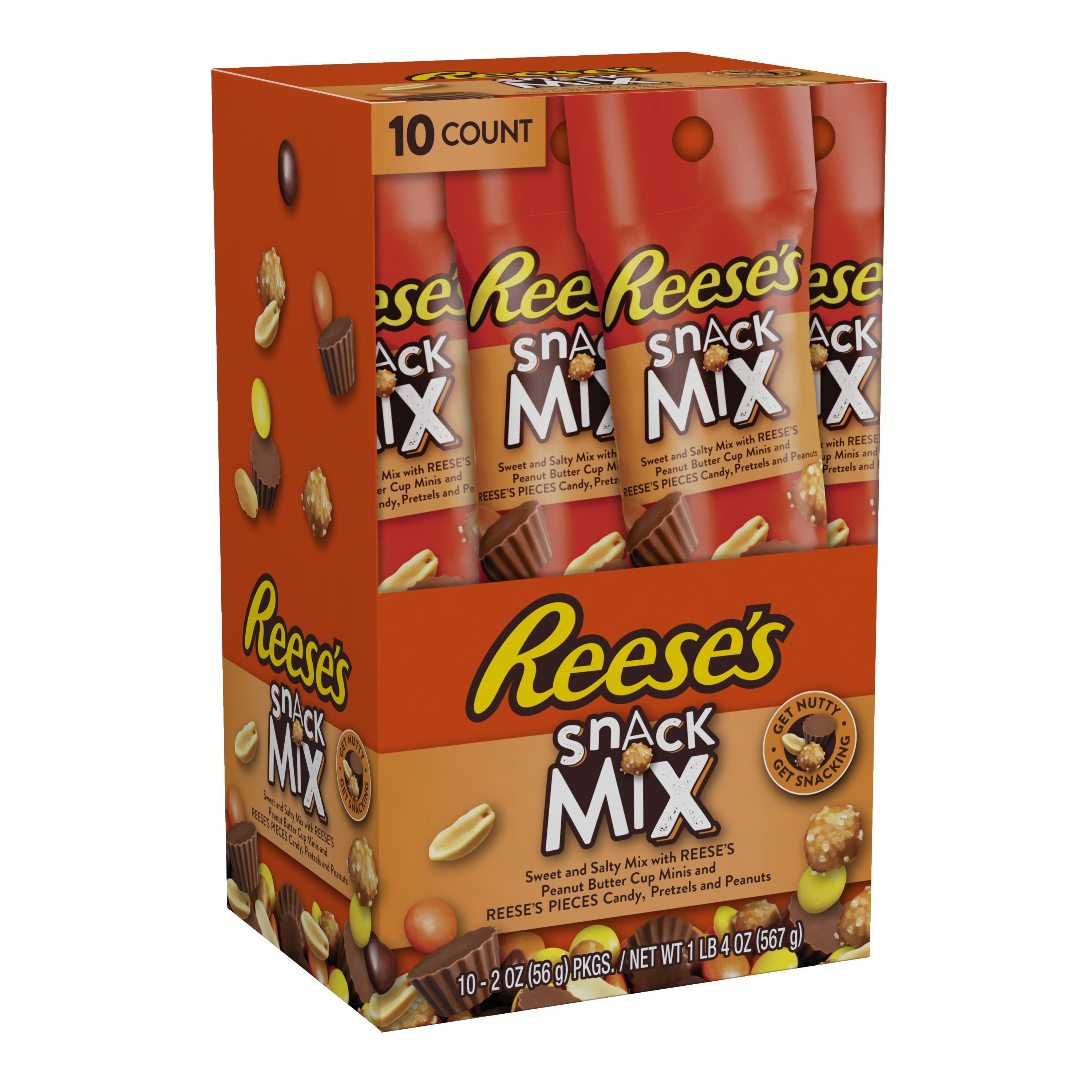 Reese's Peanut Butter Cups Minis, Pretzels & Peanuts Candy Snack Mix, 2 Oz., 10 Count