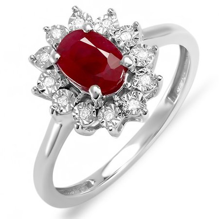 1 10 Carat  Ctw  Kate Middleton Diana Inspired 18K White Gold Real Round Diamond   Oval Ruby Royal Engagement Ring 1 Ct