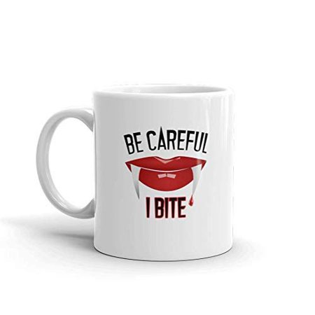 Be Careful I Bite Halloween Funny Novelty Humor 11oz White Ceramic Glass Coffee Tea Mug - Halloween Coffee Cups