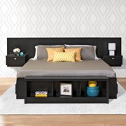 Prepac Black Series 9 Designer Floating King Headboard with Nightstands