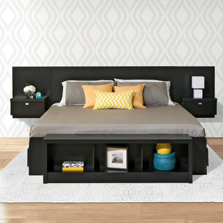 Prepac Black Series 9 Designer Floating King Headboard