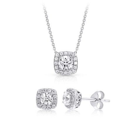 Sterling Silver Halo Cubic Zirconia Cushion Pendant and Earring Set made with Zirconia from Swarovski (Bridal Jewelry Swarovski Sets)