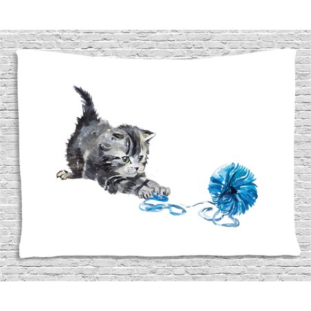 Cat Tapestry, Playful Baby Kitten with Ball of Yarn Furry Animal Domestic Feline Kids Pets Artwork , Wall Hanging for Bedroom Living Room Dorm Decor, 60W X 40L Inches, Grey Blue, by Ambesonne