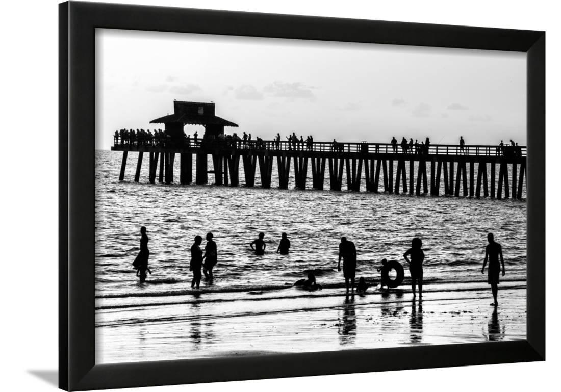 beach scene naples florida pier at sunset framed print wall art by philippe hugonnard. Black Bedroom Furniture Sets. Home Design Ideas