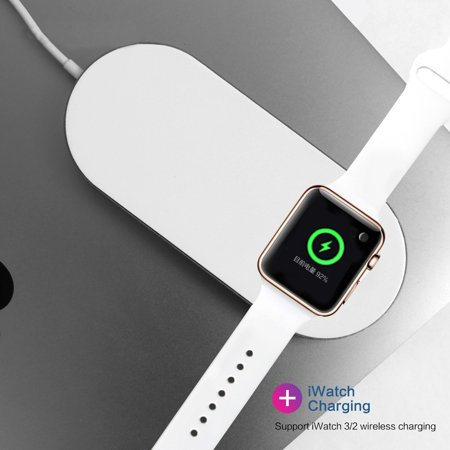 Portable 2 in 1 Qi Wireless Charging Pad Stand iWatch Charger for Apple Watch Series 2/3 iPhone X 8 8Plus Samsung Galaxy Note Qi