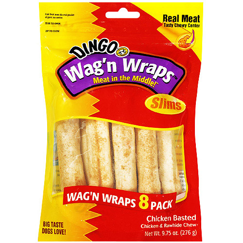 Dingo Wag'n Wraps Slims Chicken Basted, 8 Pack