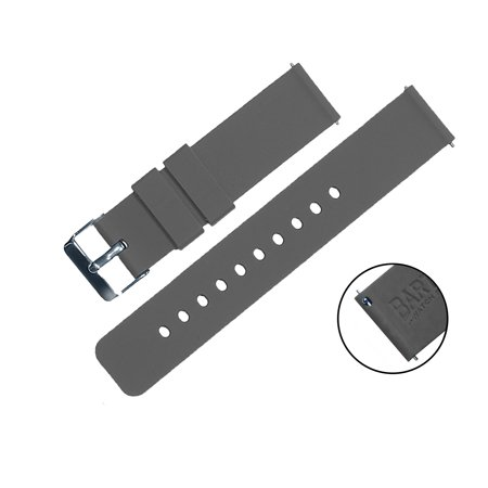 BARTON Silicone Quick Release Watch Bands - 24mm Width - Choice of Color -  Smoke Grey 24mm Strap