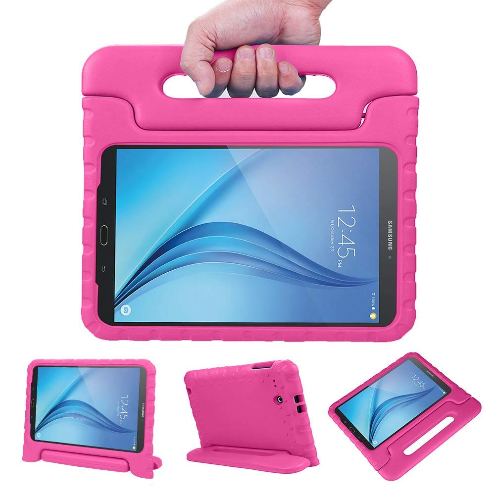 Allytech Dynamo Kids case Compatible with Galaxy Tab E 9.6 | Shock Proof Heavy Duty Kidproof Cover for Kids | Girls, Boys | Kid Friendly Handle & Stand, Screen Protector | Samsung SM-T560 T561, Rose
