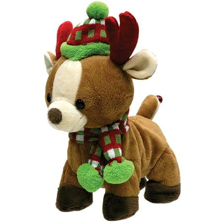 Rock & Roll Christmas Reindeer Plush w/ Festival Hat & Scarf - Sleigh Ride