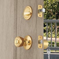 Brink's Keyed Entry Tulip Style Doorknob and Deadbolt Combo, Polished Brass Finish