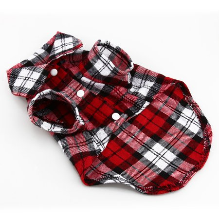 Greensen Material: cotton,New Small Pet Dog Puppy Plaid T Shirt Lapel Coat Cat Jacket Clothes Costume Red M - image 1 of 7