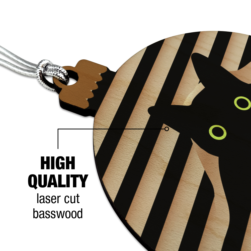 Black Cat Lying on Papers Wood Christmas Tree Holiday Ornament