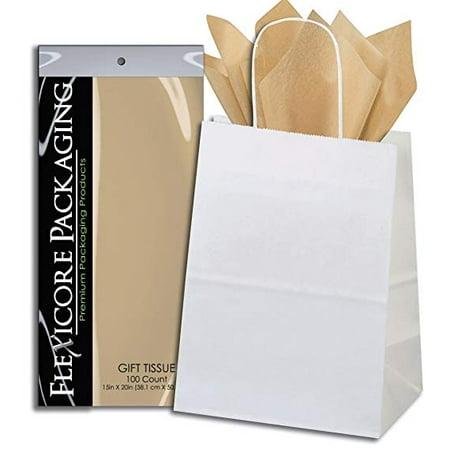 50ct White Paper Gift Bags + 100ct Desert Tan Gift Tissue (Flexicore