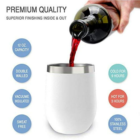 12 oz Wine Tumbler with Lid, Double Wall Vacuum Insulated Stemless Glass, Stainless Steel Wine Cup with Straw and Straw Brush for Wine, Coffee, Drinks, Champagne, Cocktails (White) ()