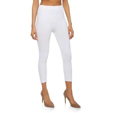 Soft Crop - Capri Leggings Soft and Smooth with Extra Stretchy Fabric 3/4 Ribbed Cropped High Waist (White)