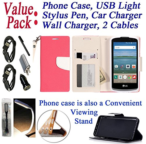 """Value Pack Cables Chargers + for 4.5"""" LG K4 LTE Rebel Case Phone Case Hybrid 2-Tone Wallet Kick Stand Pouch Purse Screen Flip Cover Pink White"""