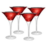 Artland Inc. Red Brocade Martini Glasses - Set of 4