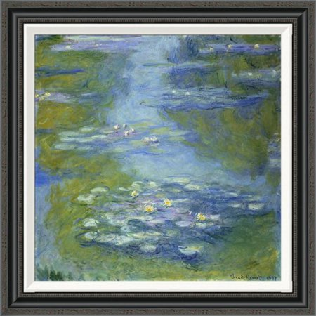 Lilies Oil Painting - Global Gallery 'Water Lilies' by Claude Monet Framed Painting Print