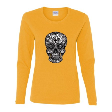 Skull White Black Tatoo Art Day of the Dead Womens Long Sleeve T-Shirt Top](Day Of The Dead Women)