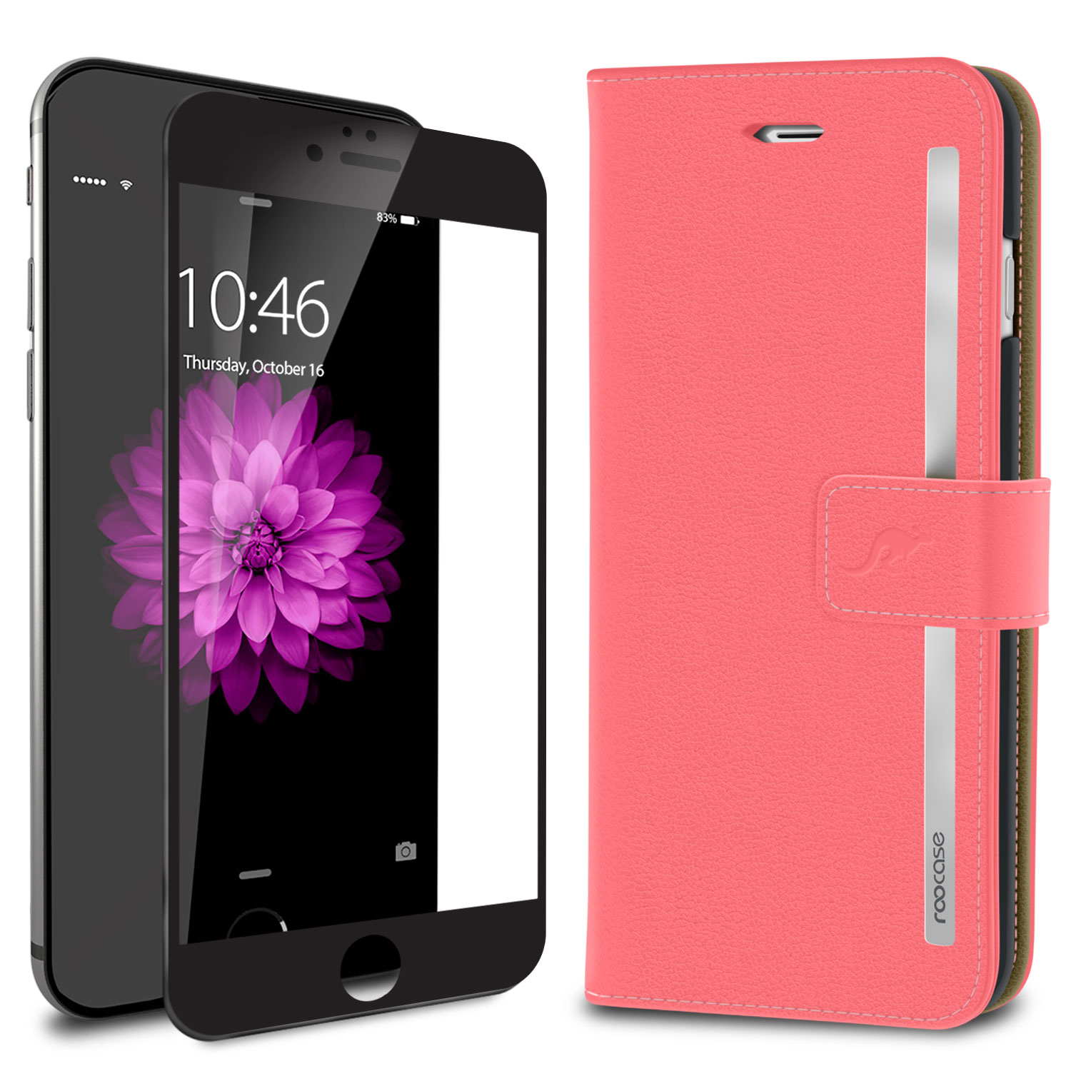 iPhone 6s Case, roocase [Prestige Folio] iPhone 6s Wallet Case Cover Card Holder with Full Screen Cover Tempered Glass (Black Edge) for Apple iPhone 6s / 6 (2015), Pink