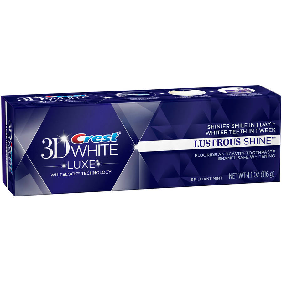 Crest 3D White Luxe Lustrous Shine Brilliant Mint Flavor Whitening Toothpaste, 4.1 oz