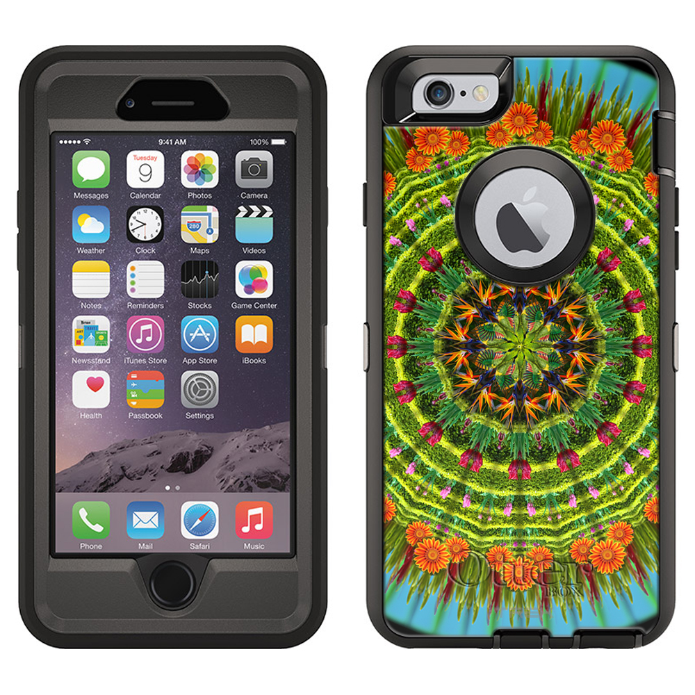 OtterBox Defender Apple iPhone 6 Plus Case - Mandala Orange Daisy on Black OtterBox Case