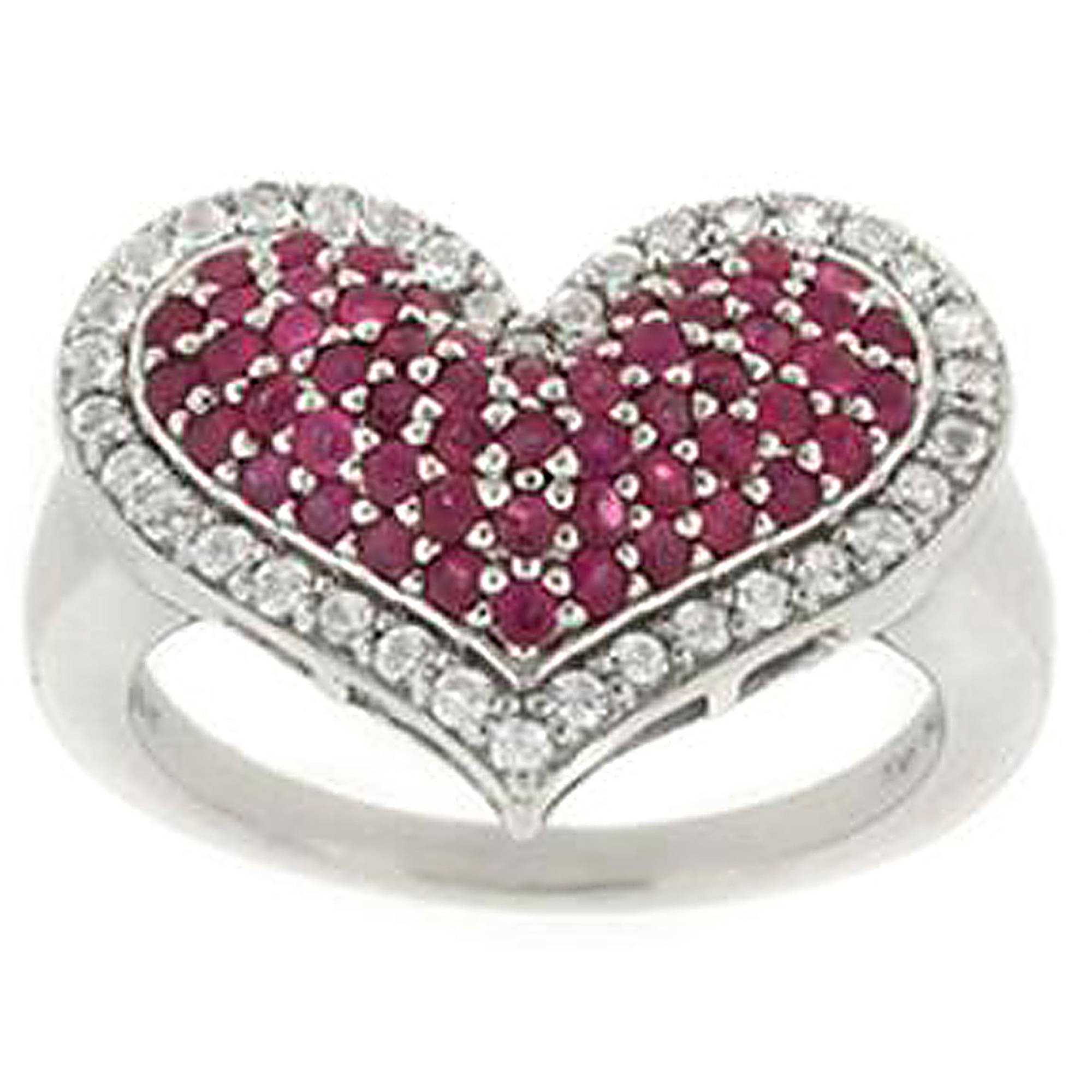 2.9 Carat T.G.W. Ruby and White Topaz Sterling Silver Heart Ring by Generic