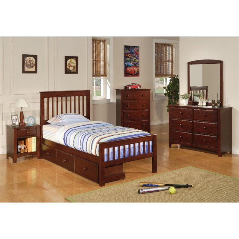 Coaster Furniture Parker 4 Piece Twin Slat Bedroom Set in...