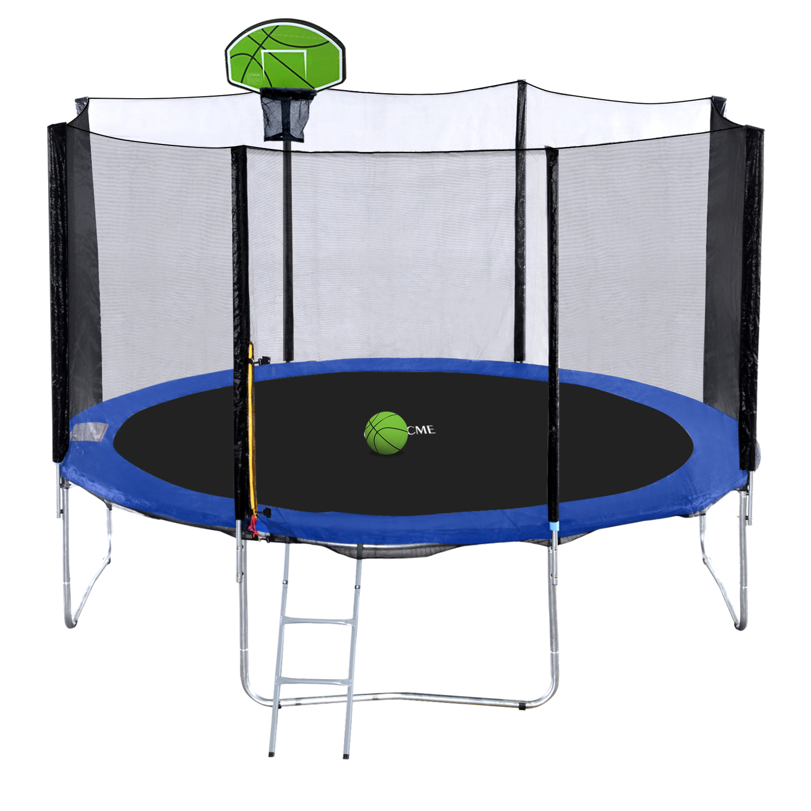 Exacme 12 FT Round Trampoline with Safety Pad,Enclosure Net,Ladder and Green Basketball Hoop,S-Series by Newacme LLC