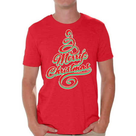 Awkward Styles Merry Christmas Shirts Christmas Tshirt for Men Christmas Tree Holiday Shirt Ugly Christmas T-Shirt Men's Holiday Top for Christmas Party Merry Christmas Tree Men's Holiday
