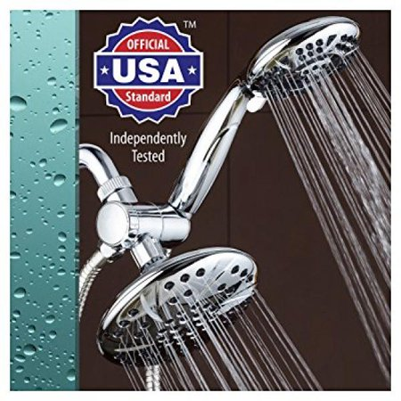 AquaDance 6 Premium High Pressure 3-way Rainfall Shower Combo Combines the Best of Both Worlds - Enjoy Luxurious Rain Showerhead and 6-setting Hand Held Shower Separately or