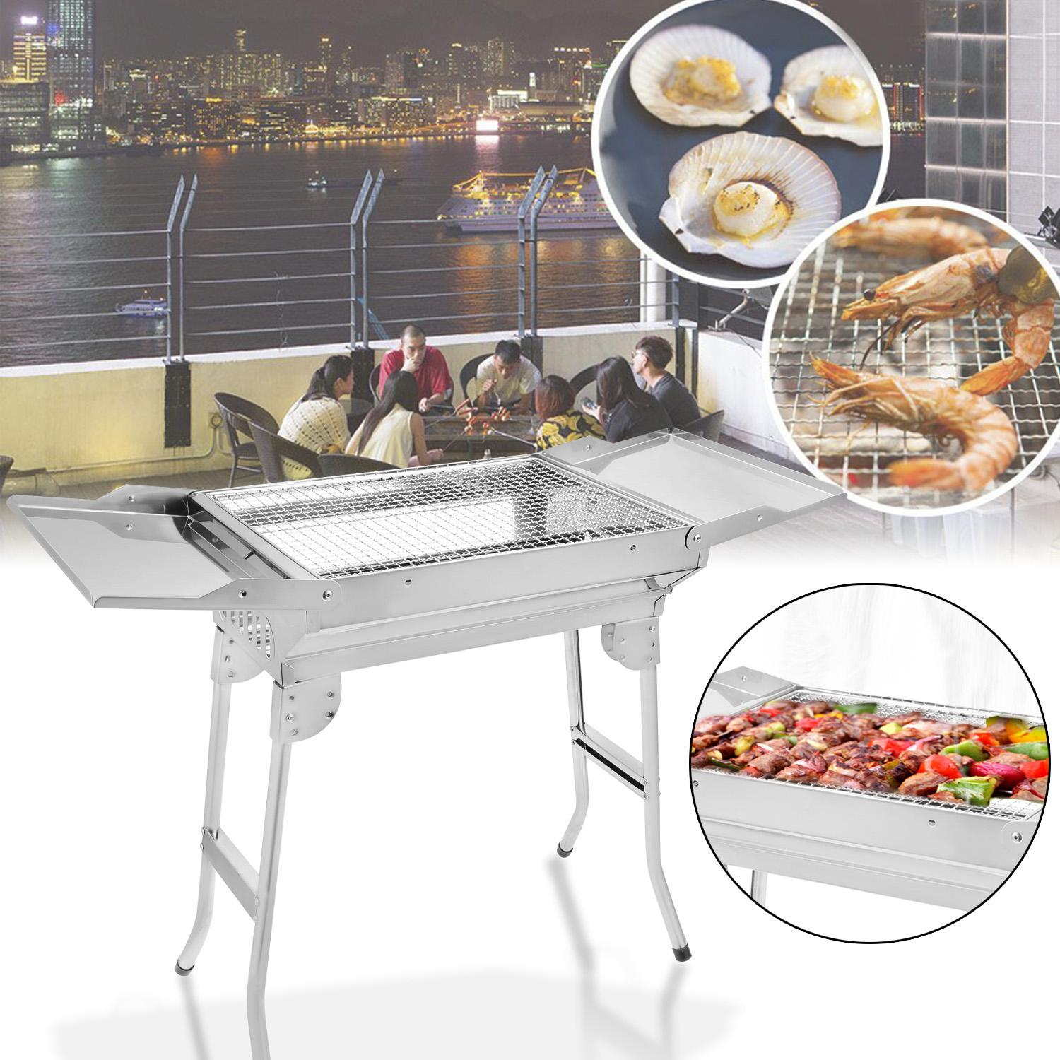 Stainless Steel Foldable Barbecue Charcoal Grill BBQ Wings style